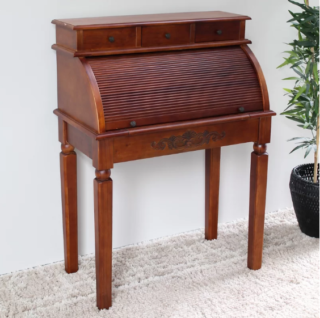Traditional wallnut stain secretary desk with roll top function and three small storage.