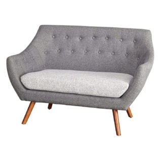 Two-toned loveseat, gray and white, in a futuristic design.