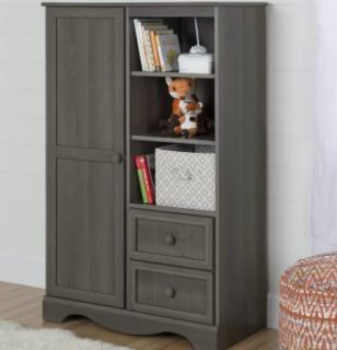This dresser is a combination of two drawers, a small wardrobe and some shelves.