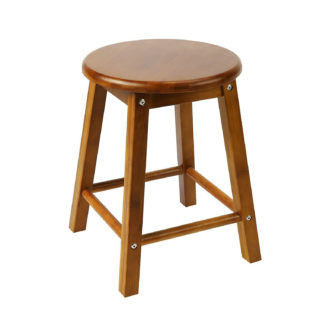 Round small counter stool with walnut finish and square leg feature.