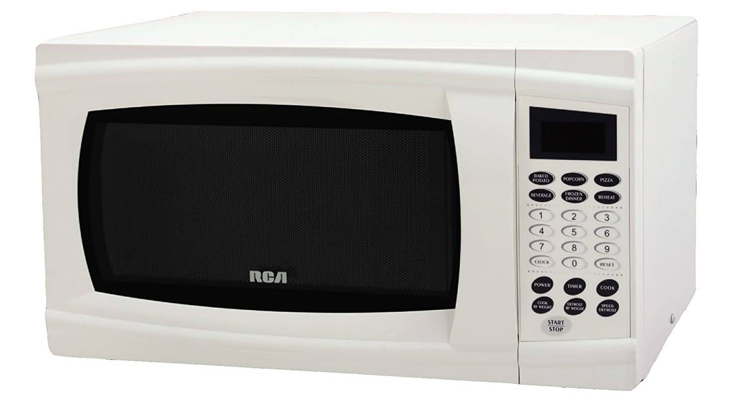 White cubic feet microwave with soft-touch control panel and kitchen timer.