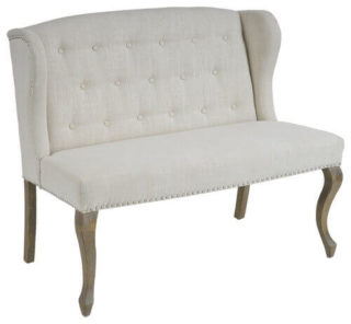 White, arm-less couch with curved legs in a beautiful french style.