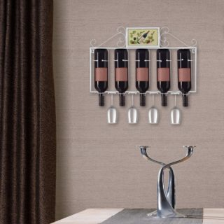 Modern white metal wall mount wine rack with glass holder.
