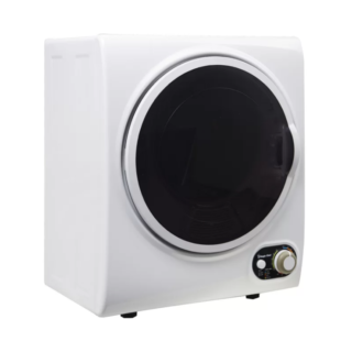 White portable compact dryer with stainless steel drum material and temperature control system.