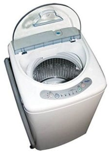Portable white washer with three water levels and three wash cycles.