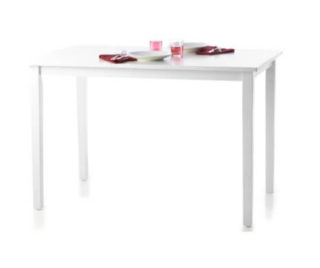 A small white table with the combination of rubberwood and engineered wood as the main medium.