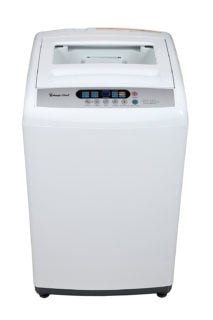 White topload compact washer with 6 programs and 6 water level selections.