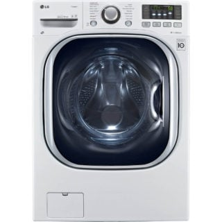 White ventless steam washer and dryer combination with anti-vibration system and allergiene cycle.