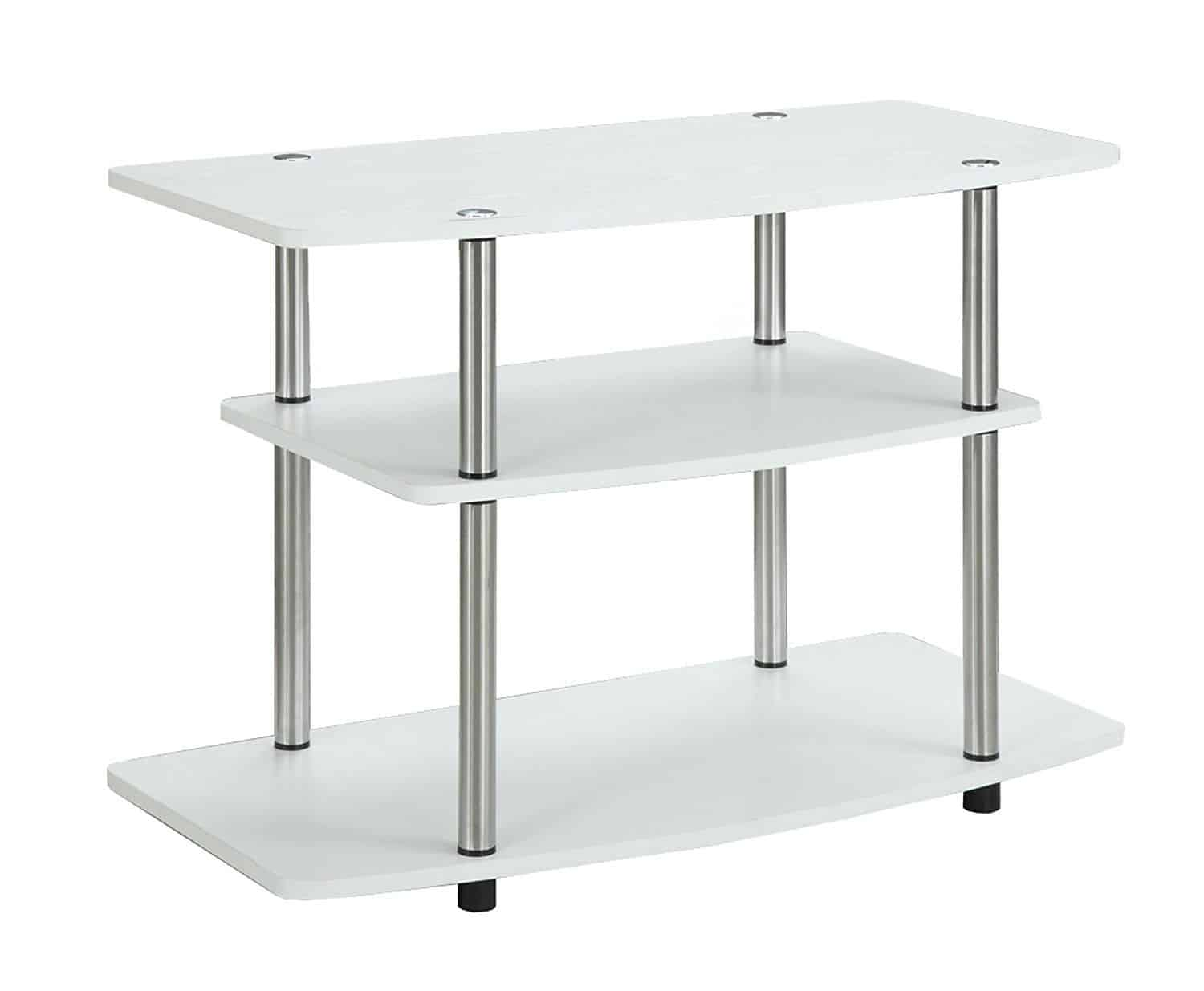 Contemporary TV stand with white wood grain finish and stainless steel clad poles.