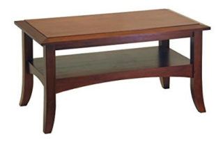 Craftsman coffee table made of pine wood. The finish has an antique, vintage vibe in it.