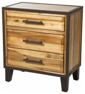 Small, vertical drawer looking natural with its stained wood design.