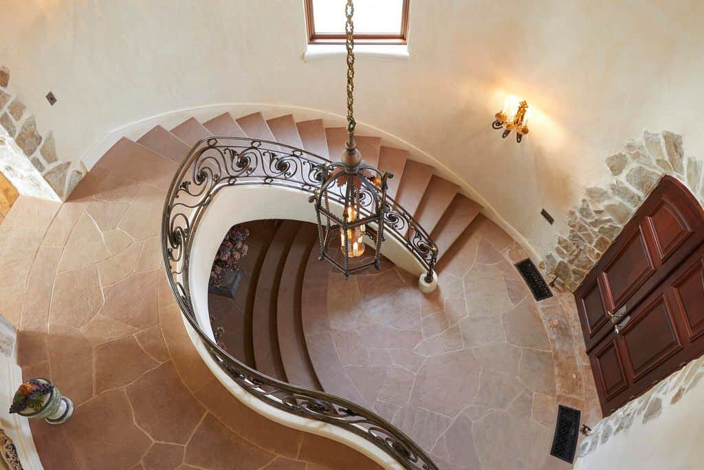 Rustic circular staircase.