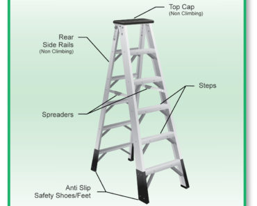 Diagram showing the parts of a step ladder