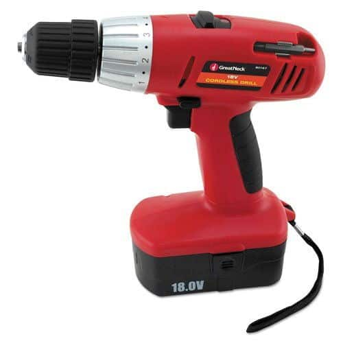 Speed cordless drill with 1 lithium ion batteries and stand.