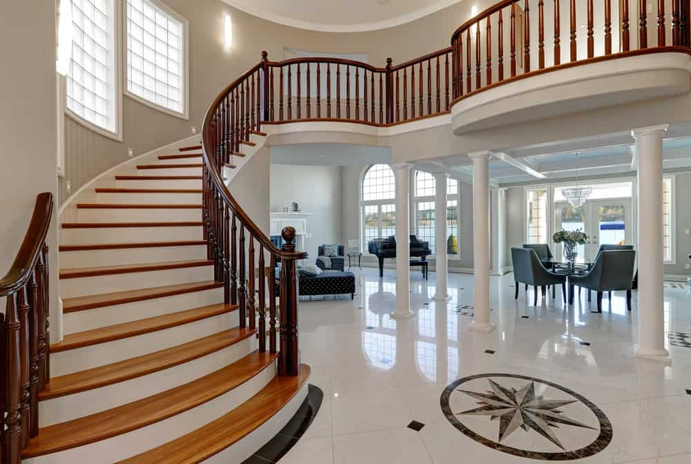 2-tone wood staircase in natural wood and white riser