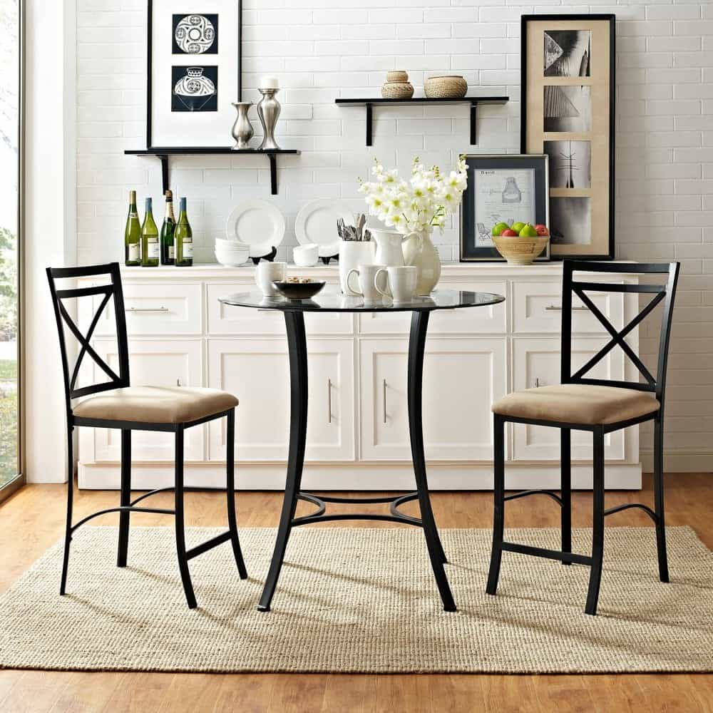 3 piece counter height glass and metal dining set in black finish and round glasstop table.