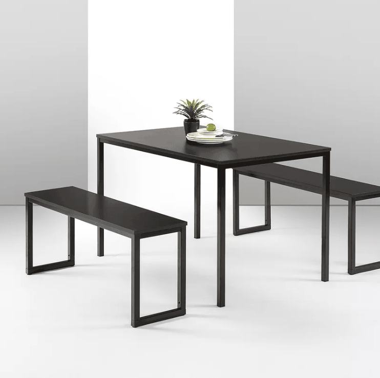 3 Piece Dining Set With Sturdy Steel Frame In Rich Wood Grain Finish.