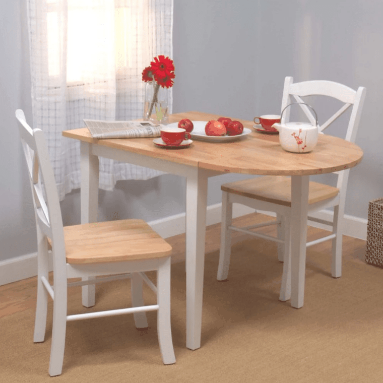 3 piece dining table set with rubberwood construction and classic x-shaped chair backs.
