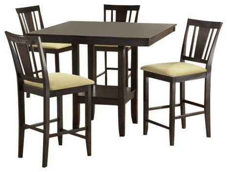 5 piece counter height dining set with slat back stools and beige faux suede seats.