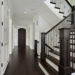 Beautiful dark wood and white 180 turn staircase oct1