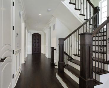 Beautiful dark wood and white 180 turn staircase oct1