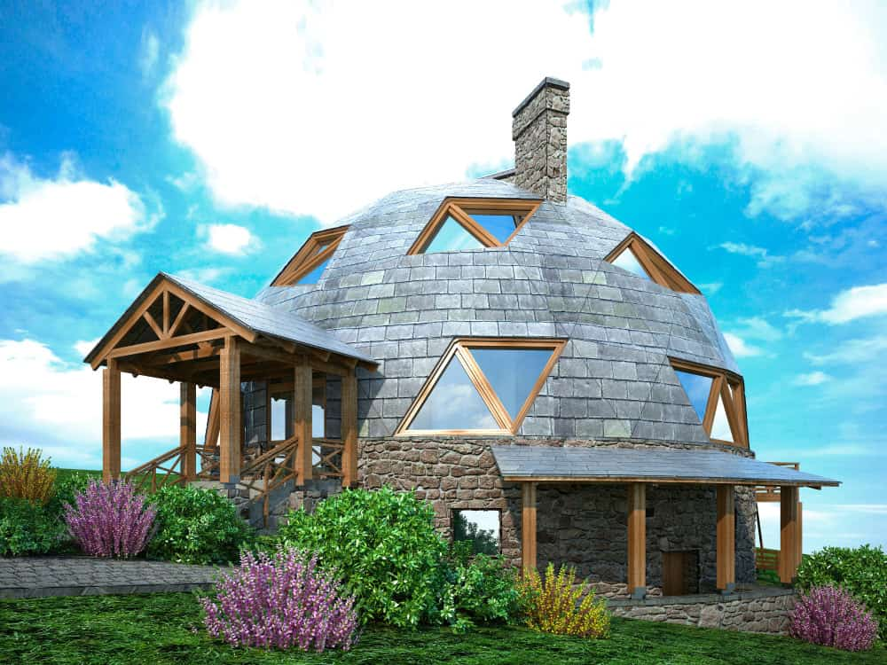 Large geodesic dome house