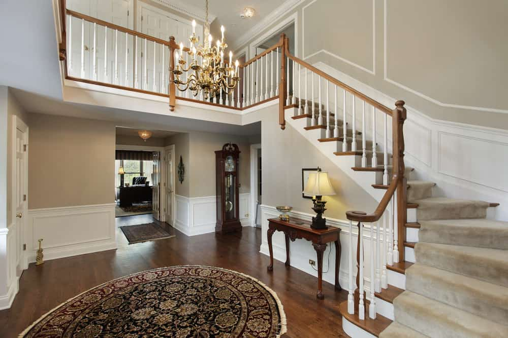 Staircase with carpeting.