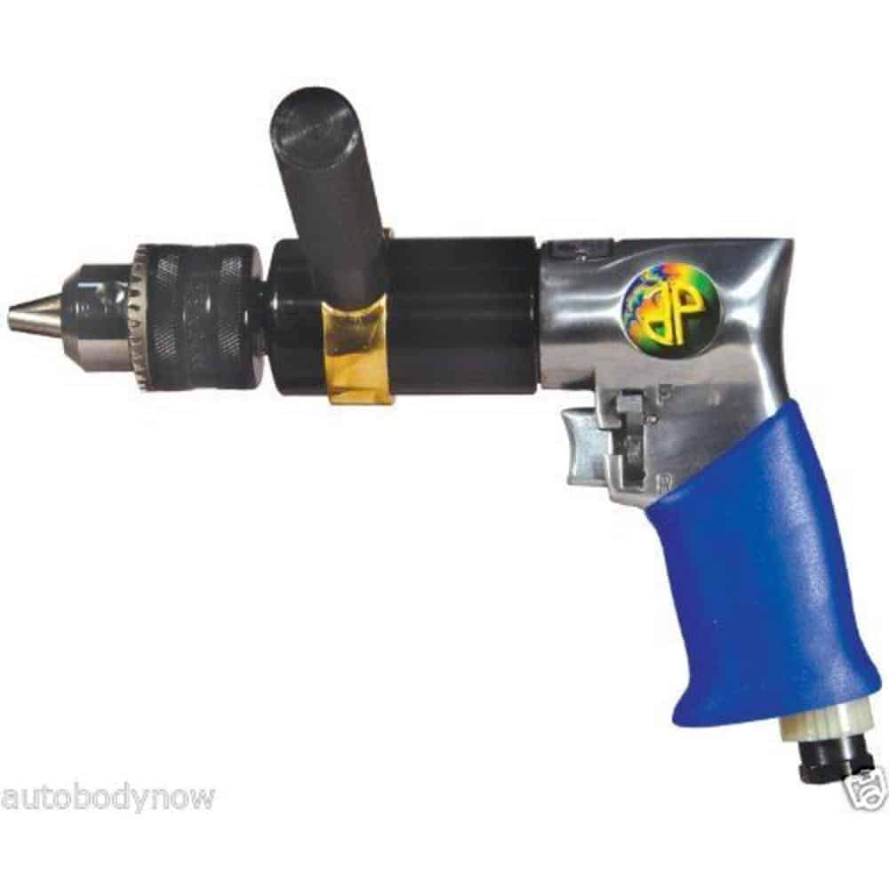 Extra heavy duty reversible air drill with variable speed throttle and exhaust that directs air away from work.