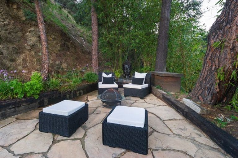 The patio surrounded by the panoramic view and canyons and trees makes the relaxing perfect.