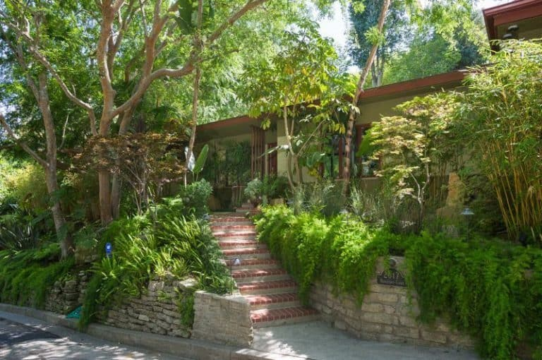 The entrance to Anna Faris' Hollywood home is filled by a lot of refreshing green plants and trees while the stairway shows the beauty of her mid-century estate.