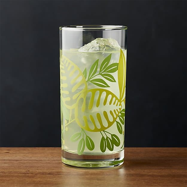Barware highball glass with tropical leaves design.