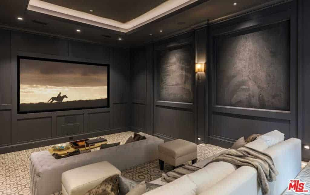 Attractive Home Media Room Ideas Part - 6: Contemporary Home Theatre With Black Stylish Walls And Tray Ceiling.Zillow  Digs