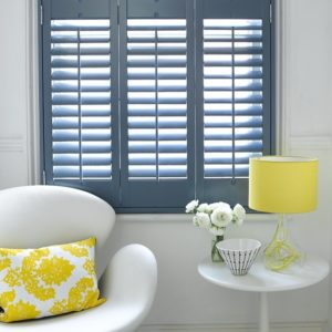 Blue plantation shutters