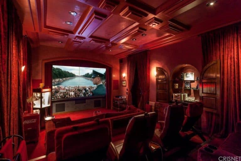 ... Theater Inside The House Boasting A Set Of Velvet Couches And Blackout  Curtains Lighted By Recessed Ceiling Lights. The Room Is Perfect For  Entertaining ...