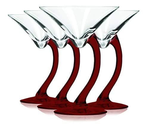 Red curved stem martini glass with colored accent.