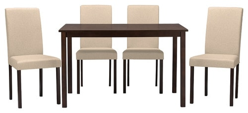 Contemporary 5 piece dining set with esrpresso wood and beige fabric seating.