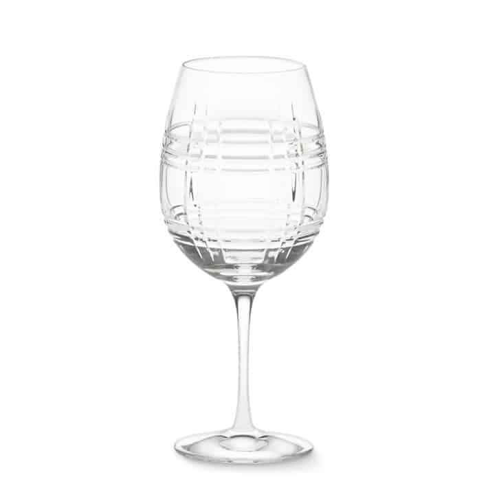 Crystal wine glass crafted of hand-cut lead crystal and is dishwasher safe.