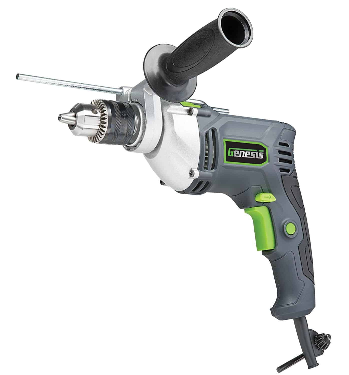 Reversible hammer drill with chuck key, side control handle and depth gauge.