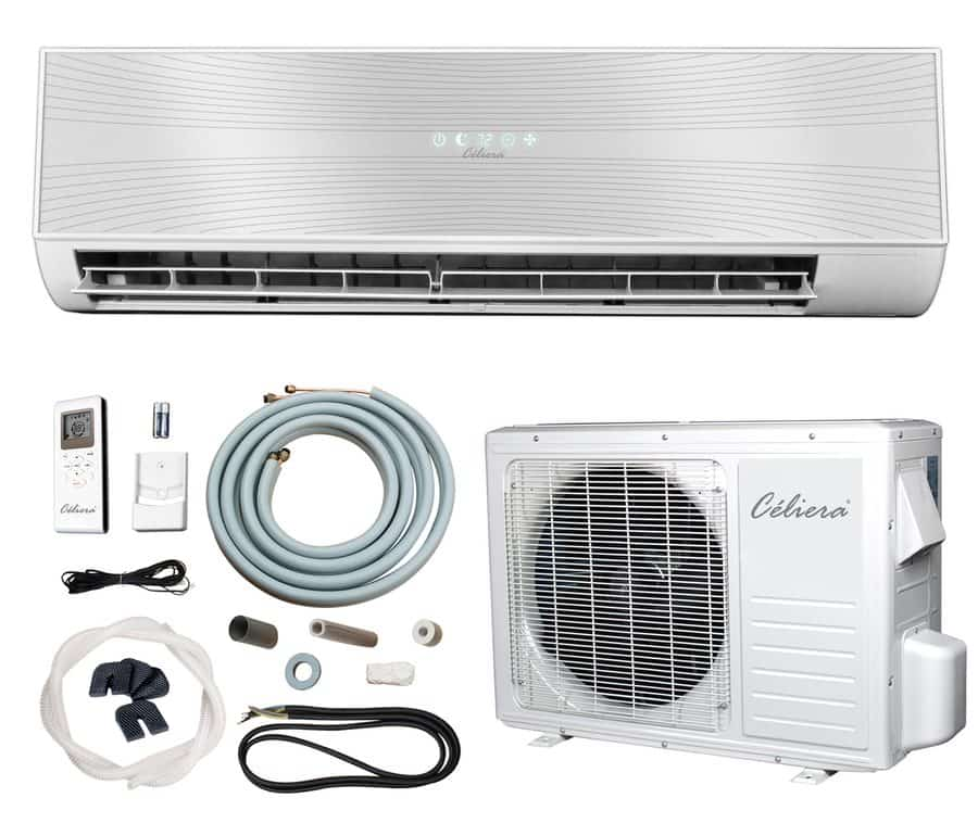 400-sq feet ductless mini split airconditioner with high efficiency cooling and automatic defrost function.