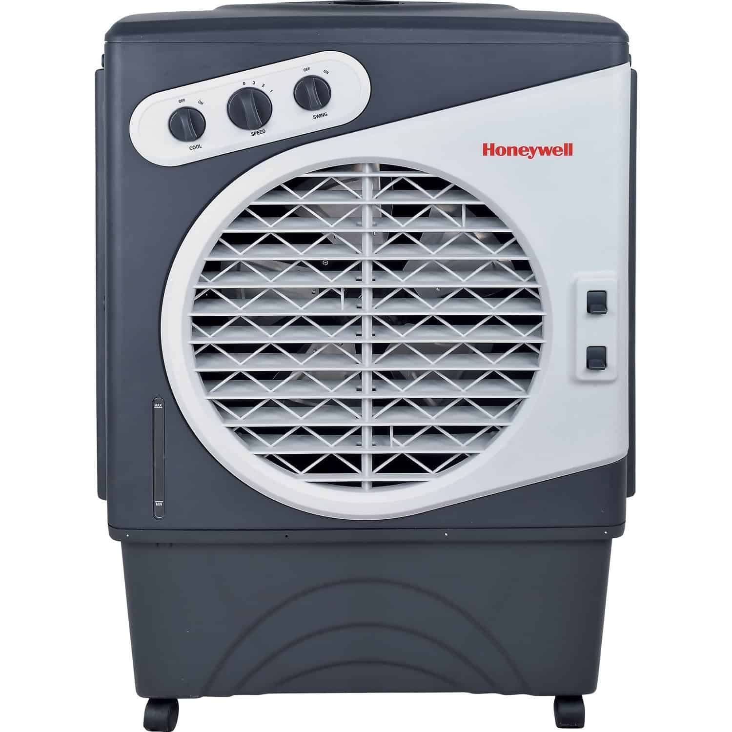 Outdoor portable evaporative airconditioner with long-lasting honeywell comb pads and copper continuous water supply connection.
