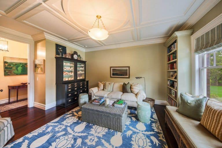 Another living room of George's house that features a large bookshelves and sofa set perfect for a reading time.