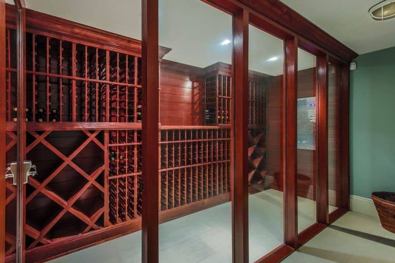 The rustic wine cellar can hold up to 1000 bottles.