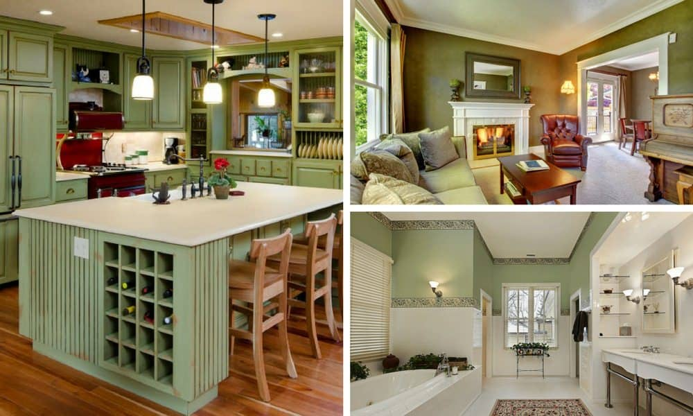 Green kitchen, living room and bathroom