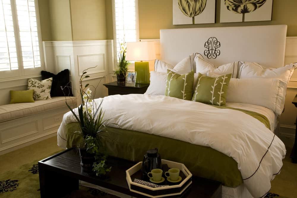 Pesto Green and White Bedroom