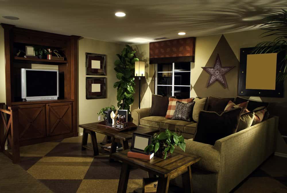 Earthy green and dark wood living room