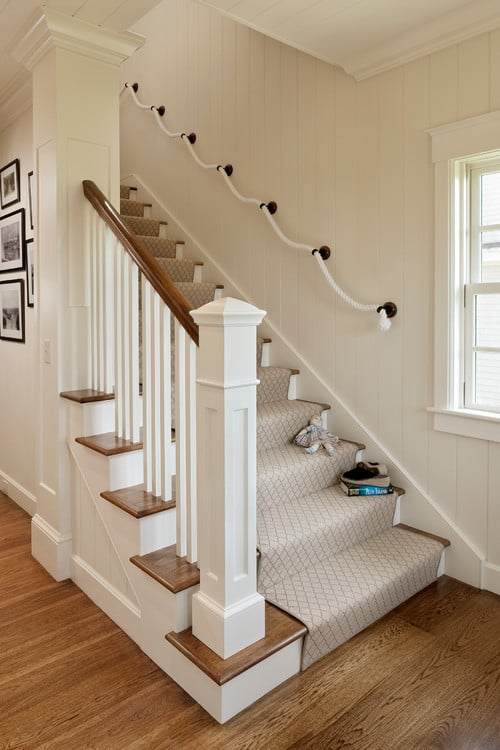 Beach-style straight staircase.