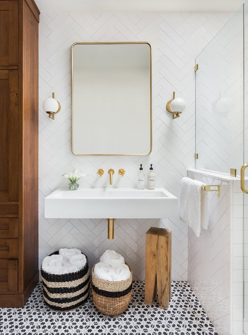 Transitional bathroom ideas Designs Transitional Bathroom With Floating Sink And Corner Shower Home Stratosphere 20 Transitional Bathroom Ideas For 2019