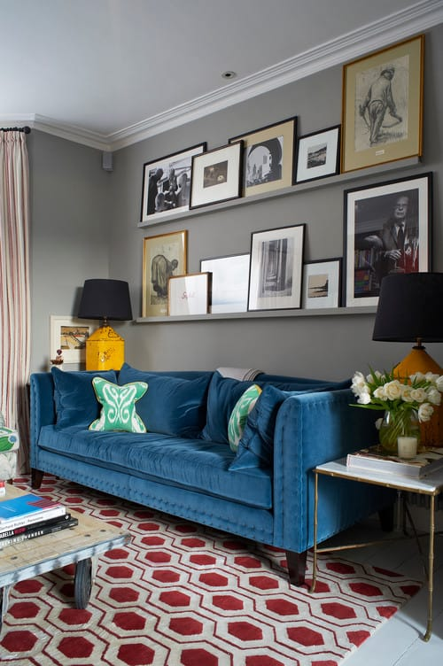 Awesome Transitional Living Room With Blue Sofa, Two Table Lamps, And Carpeted  Floor.Photo By Turner Pocock   Search Living Room Pictures