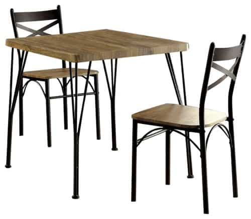 Industrial 3 piece dining table set with dark metal frame and unique triple-bar legs.