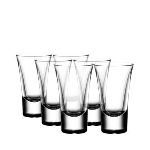 Heavy base whiskey shot glass with sleek European design.